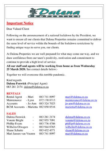 Covid-19 Lock-down Notice